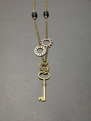 Key and gears necklace