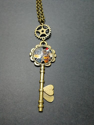 Steampunk key and gear necklace