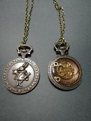 White rabbit pocket watch pendant