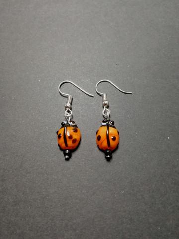 Orange ladybug earrings
