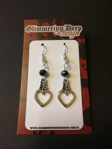 Heart earrings with black beads