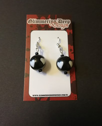 White Heart Ball Earrings