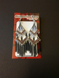 Earrings with black chains