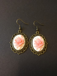 Pink rose light background earrings