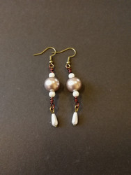 Pearl and copper wire earrings