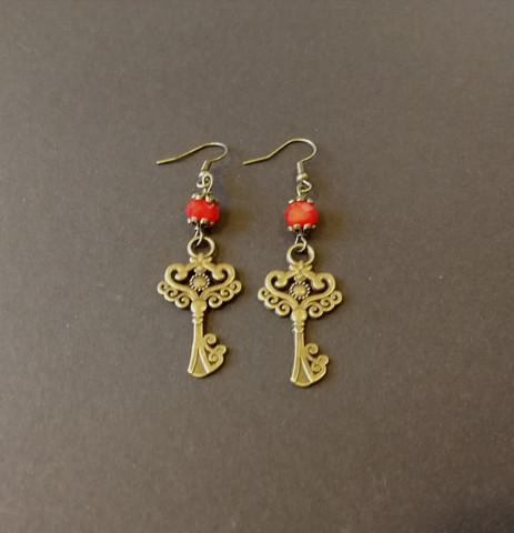 Bronze Key Earrings with red beads