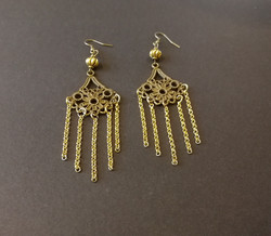 Bronze and gold hanging earrings
