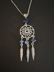 Dreamcatcher necklace with blue stones