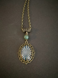 Blue and green pattern necklace