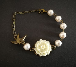 Bird and flower bracelet