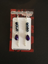 Droplet and chain violet and black earrings