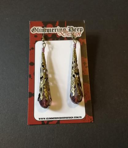 Purple medieval earrings