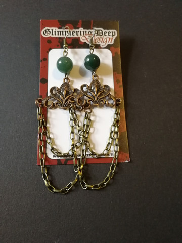 Green stone beads and chains earrings