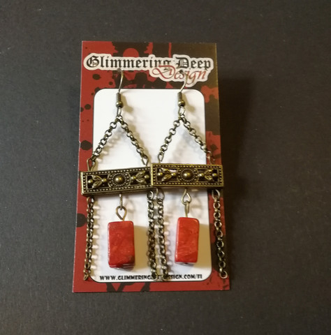 Viking earrings red stone