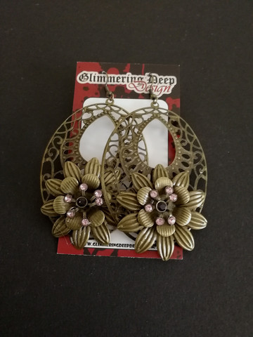 Flower earrings bronze and pink