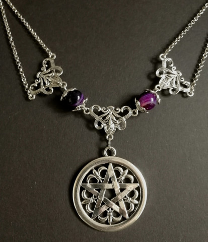 Pentagram necklace with purple stones