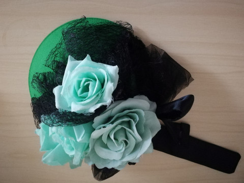 FirefoxxFlowers green hat with teal roses