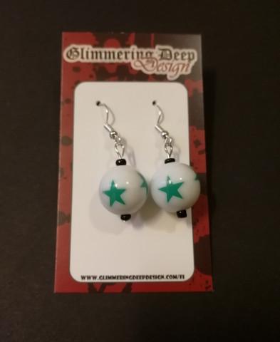 Green ball bead earrings