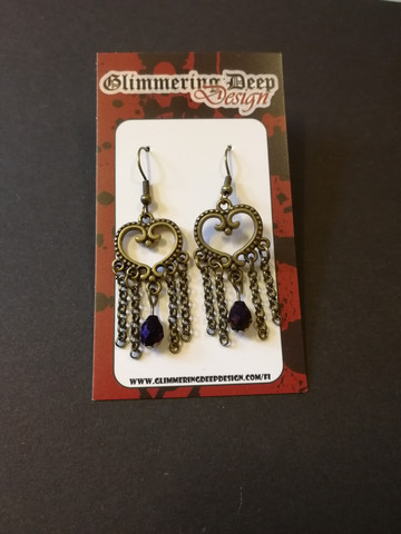 Heart earrings with violet droplets