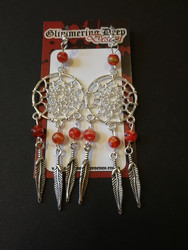 Dreamcatcher earrings with red