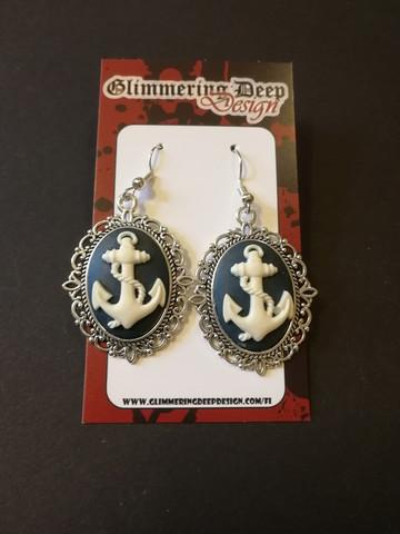 White anchor earrings