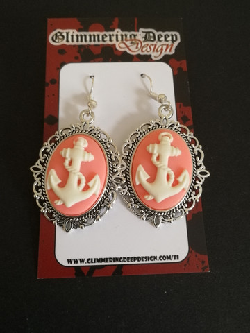 Pink anchor earrings