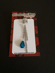 Blue drop and silver chain helix earring