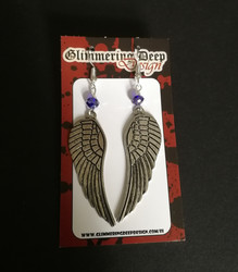 Wing earrings with blue beads