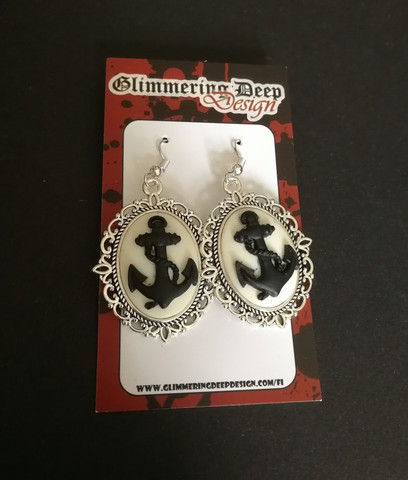 Black and white anchor earrings
