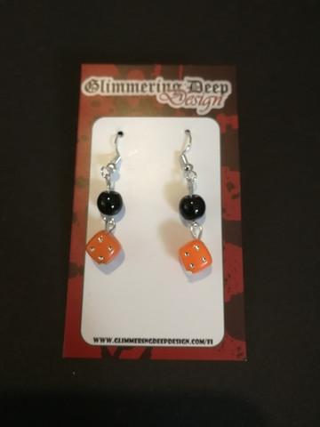 Orance dice earrings