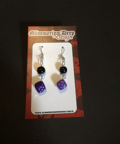 Purple dice earrings