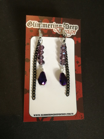 Purple droplet and chain earrings
