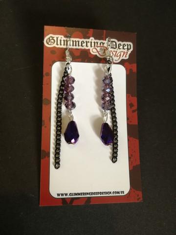 Violetit korvakorut pisara ja ketju