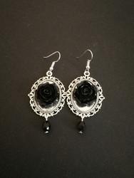 Black mirror rose earrings