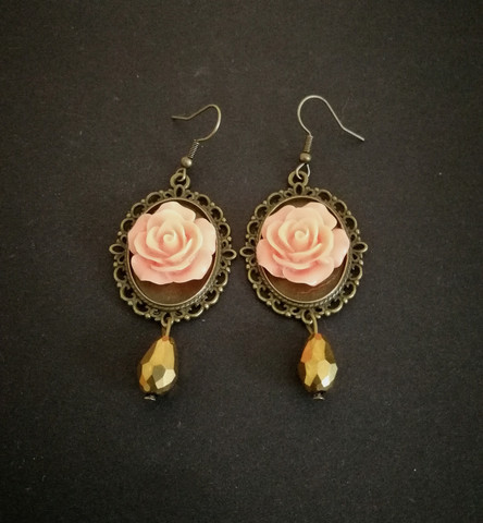 Pink mirror rose earrings