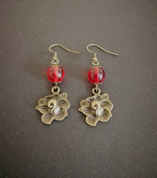 Bronze colored rose Earrings