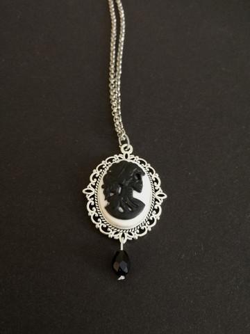 Black skeletal woman necklace
