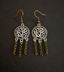 Viking earrings bronze and silver