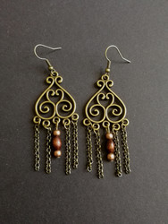 Bronze and wooden viking earrings