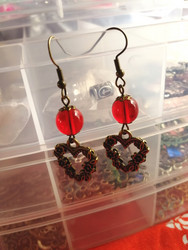 Bronze colored heart earrings