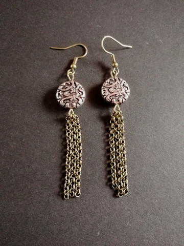 Metal bead earrings with chains