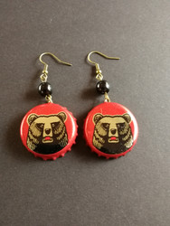 Red bottle cap earrings