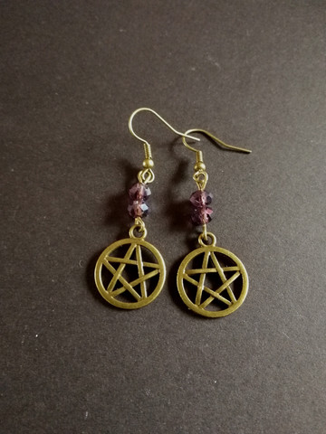 Bronze pentagram earrings