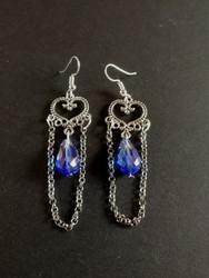 Blue hanging heart earrings