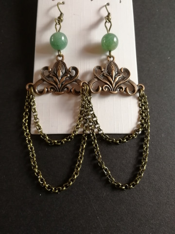 Viking earrings with stone beads
