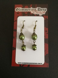Green Steampunk Earrings