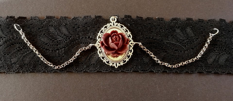 Black lace necklace with a wine red rose