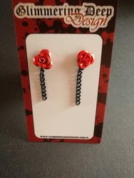 Stud earringrose with black chain