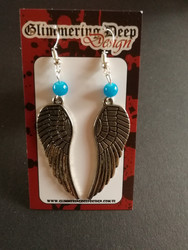Blue colored wing earrings
