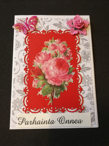 Pink rose and butterfly card